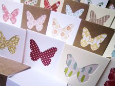 """2"""" x 2"""" Mini Butterfly Blank Note Cards / Mini Thank You Enclosures / Square Gift Tags / Assorted Patterns"""
