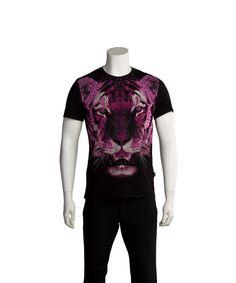 JUST CAVALLI JUST CAVALLI MEN BEDAZZLED TIGER T-SHIRT BLACK'. #justcavalli #cloth #t-shirts