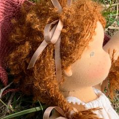 Simone - a 14''/35 cm tall Handmade Waldorf Doll | > Available Dolls | MonPilou Crochet Collar, Crochet Hats, Organic Cleaning Products, Mohair Yarn, Liberty Fabric, Bear Doll, Waldorf Dolls, Sheep Wool, Fair Skin