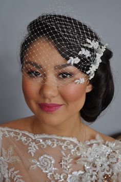Holly Barker Millinery - Couture bridal headpiece. Birdcage veil with beaded French lace www.hollybarkermillinery.com