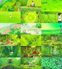 Colors of Studio Ghibli ~ Green Hayao Miyazaki, Emotional Photography, Background Drawing, Studio Ghibli Movies, Japanese Film, Film Inspiration, Colour Inspiration, Howls Moving Castle, Colour Pallette