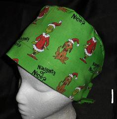 Dr Seuss The Grinch And Max Christmas Pediatric Ladies Nurses Surgical Scrubs Hats Scrub Caps