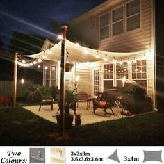 Water Resistant Shade Sail Sun Canopy Patio Awning Garden UV Block Home Party Backyard Shade, Backyard Patio Designs, Pergola Shade, Diy Patio, Shade For Deck, Shade Ideas For Backyard, Patio Shade Sails, Backyard Landscaping, Outdoor Sun Shade