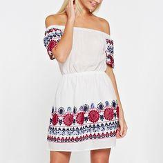 Embroidered Off-Shoulder Mini Peasant Dress