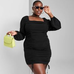 Big Girl Fashion, Kimono Dress, Fall Fashion Outfits, Ruched Dress, Plus Size Dresses, Sleeve Styles, Clothes For Women, Long Sleeve, Sleeves