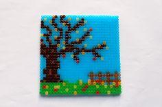 hama perler beads - Autumn by: Nina V. Hama Beads Patterns, Bead Art, Perler Beads, Diy And Crafts, Coasters, Cake, Projects, Design, Fall Season