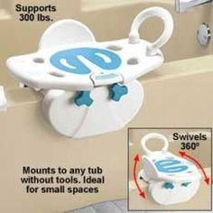 This is a combination swivel seat and grab bar for use on bath tubs with raised sides. This is particularly useful for those who need to be move to and from their wheelchairs. This makes the process safer. Occupational Therapy, Physical Therapy, Physical Education, Hip Problems, Adaptive Equipment, Gadgets, Assistive Technology, Making Life Easier, Grab Bars