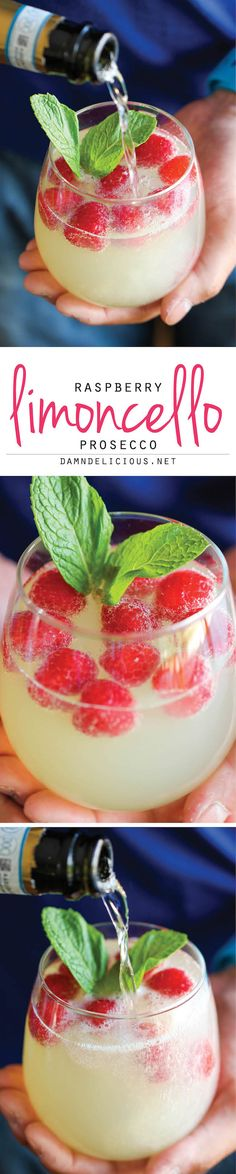 Raspberry Limoncello Prosecco 3 cups prosecco, chilled 1 cup limoncello liqueur, chilled 1 cup frozen raspberries 6 sprigs fresh mint