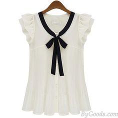 Элегантный лук с коротким рукавом шифон OL рубашки | Женская Верхняя одежда | Одежда и Apparel- ByGoods.Com