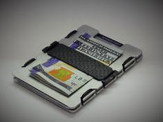 Aluminum RFID Minimalist Wallet with Carbon Fiber Strap