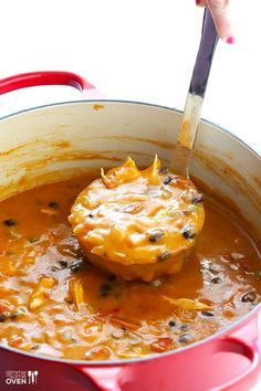 20-Minute Cheesy Chicken Enchilada Soup | gimmesomeoven.com
