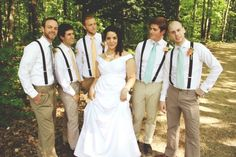 Groomsmen In Chinos Suspenders And Different Coloured Ties