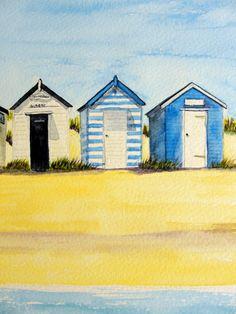 This painting is the popular beach huts at Gun Hill in Southwold. Seaside Art, Coastal Art, Beach Watercolor, Watercolor Landscape, Beach Huts Art, Caribbean Art, Small Canvas Art, Summer Quilts, Door Murals