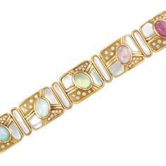 Gold, Mother-of-Pearl, Cabochon Colored Stone and Diamond Bracelet  18 kt., composed of five rounded rectangular panels centering one oval cabochon rubellite, one oval cabochon pink tourmaline, one oval cabochon tourmaline and two oval cabochon aquamarines, flanked by fancy-shaped mother-of-pearl panels, dotted with 55 round diamonds approximately 2.00 cts., spaced by oval links centering oval mother-of-pearl panels, approximately 54.7 dwts. Length 6 5/8 inches.