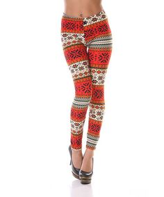Take a look at this Orange & Red Snowflake Leggings by White Mark on #zulily today!
