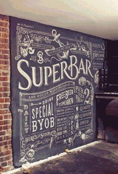 Chalk Menu in a basement. like the brick and chalkboard wall together. definitely need a chalkboard wall to do designs; Chalkboard Typography, Blackboard Wall, Chalk Wall, Chalk Lettering, Chalkboard Designs, Chalk Board Wall Ideas, Chalkboard Wall Kitchen, Chalkboard Drawings, Black Chalkboard