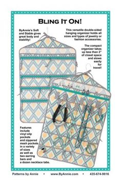 Pattern for versatile hanging organizer to hold all sizes and types of accessories. - BUt I want to see what it looks like rolled up for travel. Hanging Jewelry Organizer, Jewelry Organization, Sewing Tools, Sewing Projects, Hanging Necklaces, Fat Quarter Shop, Pattern Library, Pattern Paper, Types Of Fashion Styles