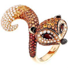 Scavia | The Fox ring with diamond and orange sapphire pavé. Photo courtesy press office.  Via Vogue Italia, Gioiello, Oct 2010.