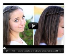 How to Create a 4-Strand Waterfall Braid Video Tutorial.  Easier than I thought.