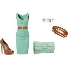 pastel mint outfit.  mint dress, camel shoes