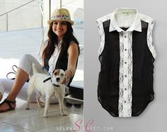 We love the sweet, ladylike look of this outfit Selena Gomez wore in her photoshoot for Dream Out Loud's Spring 2013 range. She's pictured here wearing a Dream Out Loud Junior's Sleeveless Lace Inset Shirt in color Black. This shirt is on sale for an affordable $14.00 from Kmart.com.  Buy it HERE  She's also wearing Dream Out Loud capris and a Dream Out Loud hat.