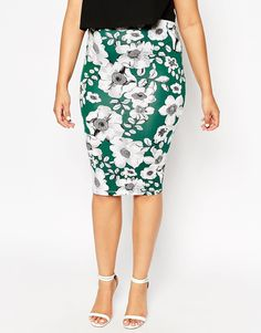 ASOS CURVE Pencil Skirt in Forest Floral Print $33.00
