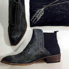 """Free People Distressed Chelsea Boots Details: • Size 39 • Leather and fabric upper • Heavily distressed allover--imperfections are intentional and part of the design  • Color is called black but these are more of a dark gray color • Elastic side panels • 1.5"""" heel Free People Shoes Ankle Boots & Booties"""