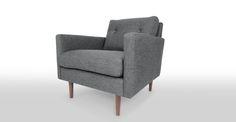 Noah Gravel Gray Armchair - Lounge Chairs - Article | Modern, Mid-Century and Scandinavian Furniture