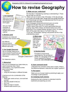 Geography | How to revise Exam Study Tips, School Study Tips, Study Skills, Gcse Geography Revision, Geography Lessons, Exam Revision, Revision Tips, Geography Classroom, Teaching Geography