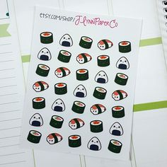New to JLynnPaperCo on Etsy: 35 Kawaii Sushi Stickers Kawaii Cute Stickers Planner Stickers Pretty  Erin Condren ECLP (2.00 USD)