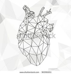 Geometric vector heart isolated on white background vintage design element illustration