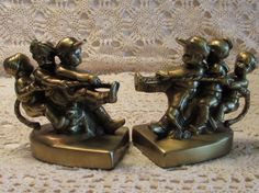 Metal Bookends Vintage Bookends Boys Playing Tug of by LasLovelies
