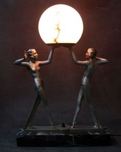 art deco table lamp with two women