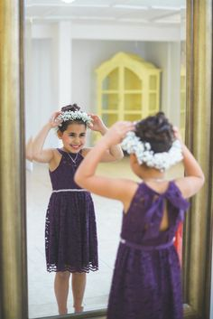 Plum Flower Girl Dress - Plum and White Persian Wedding at the Lange Farm - Photo by Napoleoni Photography - click pin for more - www.orangeblossombride.com