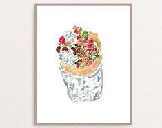Burrito kitchen Decor Painting Kitchen Wall Art Watercolor | Etsy Kitchen Wall Art, Kitchen Decor, Coffee Artwork, Art Restaurant, Minimalist Painting, Hanging Canvas, Room Wall Decor, Art Drawings, Drawing Art