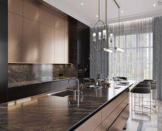 Black&Bronze Kitchen on Behance Luxury Kitchen Design, Kitchen Room Design, Luxury Kitchens, Home Decor Kitchen, Interior Design Kitchen, Kitchen Furniture, Kitchen Ideas, Bronze Kitchen, Kitchen Black