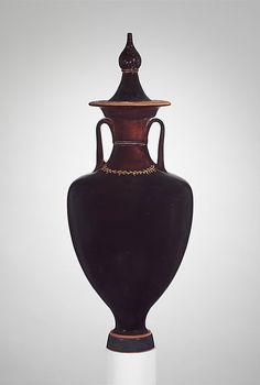 Terracotta amphora with lid (jar). 4th century B.C., Greek.