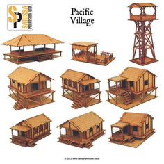 This deal consists of one of each of the laser cut Pacific buildings more then enough to build a typical village. Each building is laser cut MDF with Laser etched detail,with removable roof and interior detail. Kits supplied unassembled and unpainted Bamboo House Design, House Front Design, Hut House, Tiny House Cabin, Bamboo Architecture, Architecture Design, Farm Stay, Village Houses, Wooden House