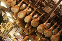BOLOGNA IN 2013. Butcher shop and hanging ham.