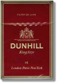 Popular Hard Pack of Dunhill King Size - One of the most popular branded cigarettes from the to the current day. Note Phrase on pack 'London Paris New York'
