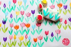 tulip garden stamps. flower hand carved rubber stamp. holland inspired scrapbook card making. gift wrapping. diy birthday/wedding. set of 4