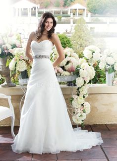 Natural Waist Organza With Ruching Sweetheart A line Simple Wedding Dress