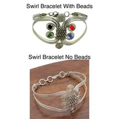 This silverplated copper wire bracelet features a woven center surrounded by swirls. This beautiful bracelet features high polish construction in an eye-catching design.