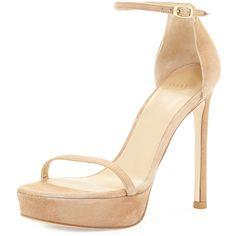 Stuart Weitzman Nudist Platform Suede Sandal ($455) ❤ liked on Polyvore featuring shoes, sandals, heels, black, platform sandals, high heel platform sandals, open toe sandals, black platform sandals and ankle strap heel sandals