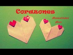 Origami - Papiroflexia. Corazón con corazoncitos, muy bonito para San Va...