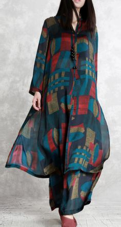 2019 green prints silk two pieces long silm shirts and wide leg pants - Elegant Outfits