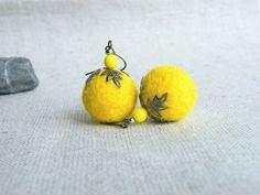 BUY 2 GET 1 FREE    Yellow Felt earrings Sunny Yellow Felt Jewelry Fall Fashion Autumn trends Ready to ship. $12.50, via Etsy.