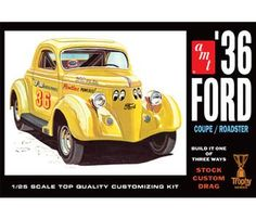 This plastic model car kit of a 1936 Ford Coupe/Roadster is made by AMT in 1/25…