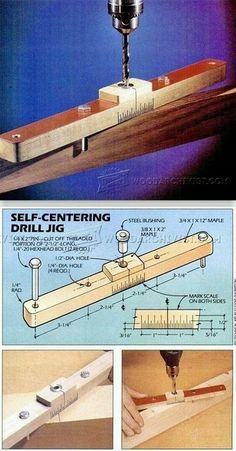 Self Centering Jig - Drill Tips, Jigs and Fixtures - Woodwork, Woodworking, Woodworking Plans, Woodworking Projects Woodworking For Kids, Woodworking Workshop, Woodworking Classes, Woodworking Wood, Woodworking Projects, Youtube Woodworking, Woodworking Videos, Woodworking Beginner, Carpentry Tools