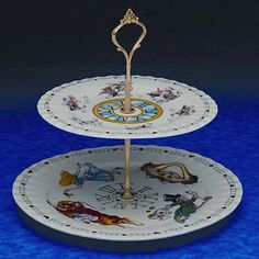 The Twiggery - Tea Party - alice in wonderland 2 tier tray, alice in wonderland 2 tier stand, two tiered stand, two tiered tray